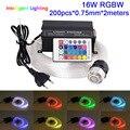 16W RGBW Motor de luz 0,75mm * 150 Uds * 2 M/200 uds/300 uds/450 Uds * 2 m/3 m/5 m LED de fibra óptica Kit de iluminación de techo