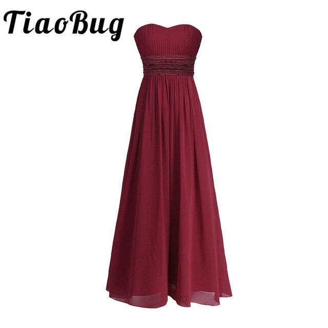 فستان وصيفة العروس من الشيفون بدون حمالات للنساء من TiaoBug طويل من التول بطول الأرض فستان طويل للحفلات الراقصة فساتين صيفية للأميرة