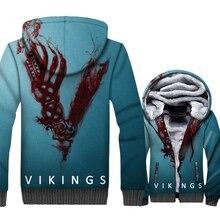 Hot Sale Brand Clothing 2019 3D Vikings Movie Hoodies For Men Hip Hop Unisex Zipper Jacket Coat Harajuku Winter Thick Hoody Tops