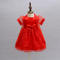 2Pcs Set Baby Girl Baptism Dress Red Infant Princess Dresses For Formal Occasion 1 Year Birthday