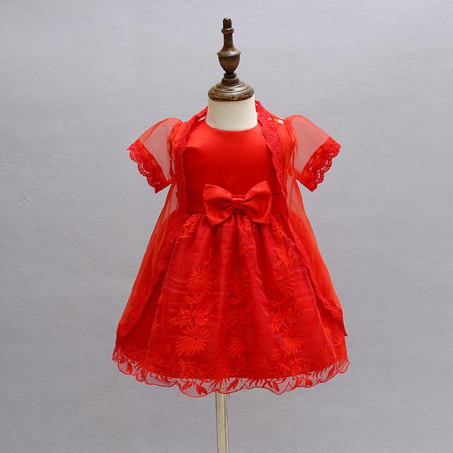 2 unids/set niña bautismo dress rojo infantil princesa vestidos para la ocasión formal cumpleaños 1 años ceremonial dress para el bebé atuendo