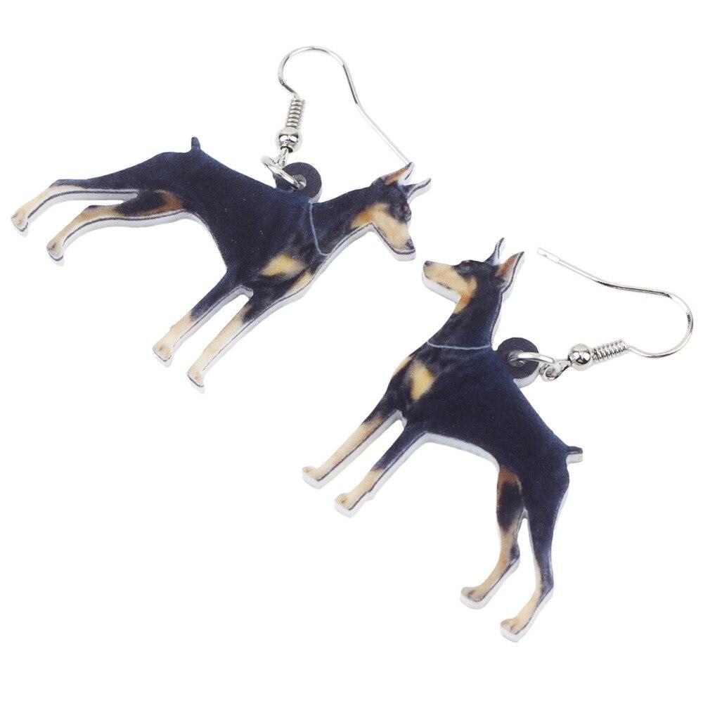 Bonsny Acrylic Anime Dangle Drop Doberman Pinscher Dog Earrings