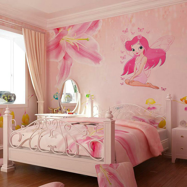 Jklong Beautiful Fairy Princess Erly Decals Art Mural Wall Sticker Kids Room Decor Pink Color