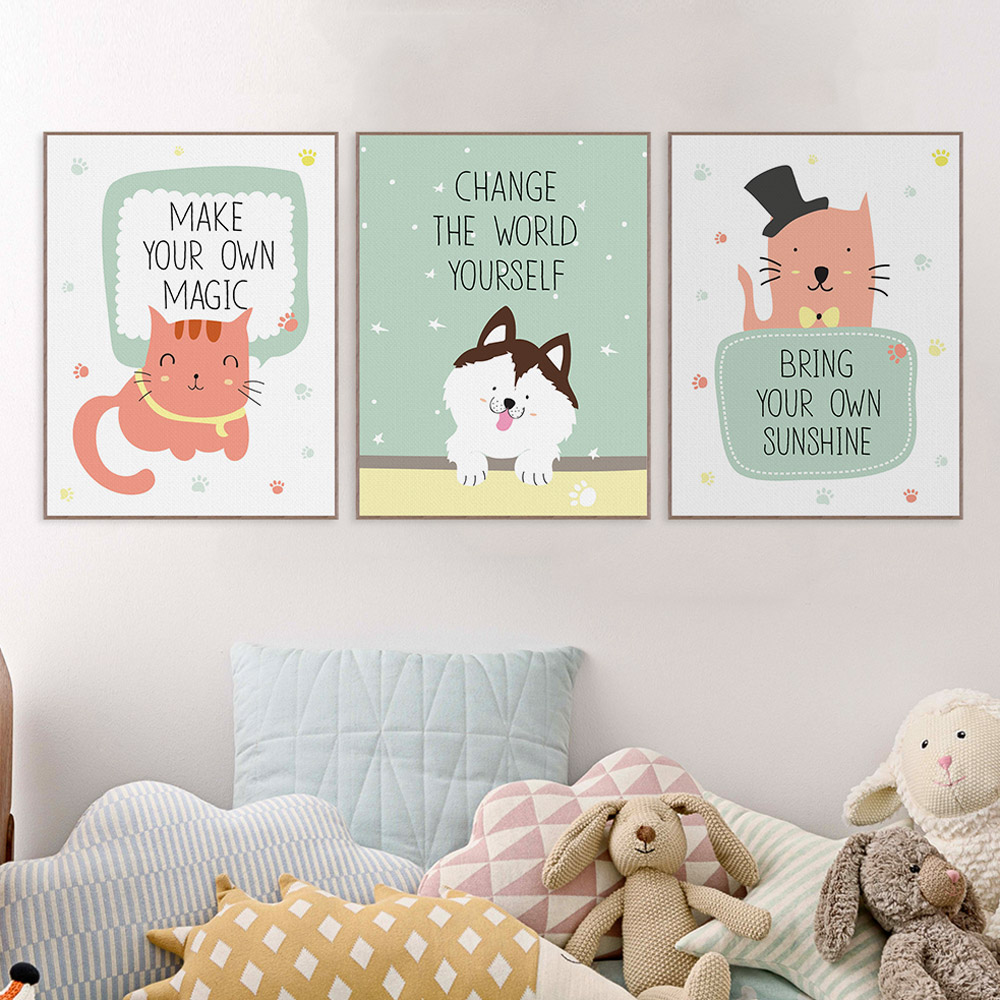 Nursery Art For Children Kids Wall Art Baby Girl Nursery Baby: Kawaii Animals Pet Cat Lion Quotes Canvas Art Print Poster