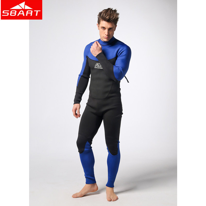 SBART 3MM Neoprene Scuba Dive Wetsuits One-Piece Men Spearfishing Diving Wet Suits Surf Equipment Back YZZ Zipper Sport Wetsuits