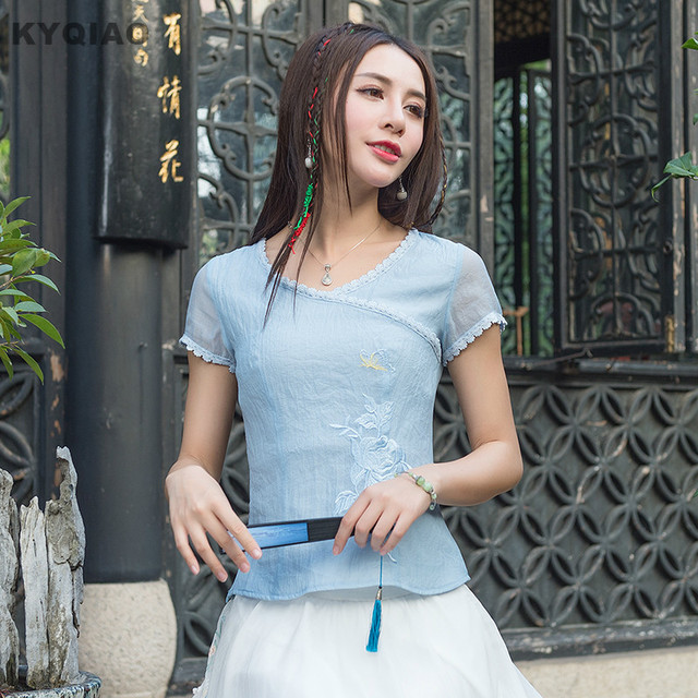 KYQIAO Ethnic shirt 2017 women summer spring elegant fresh s-2xl v neck short sleeve blue solid lace t-shirt tee top