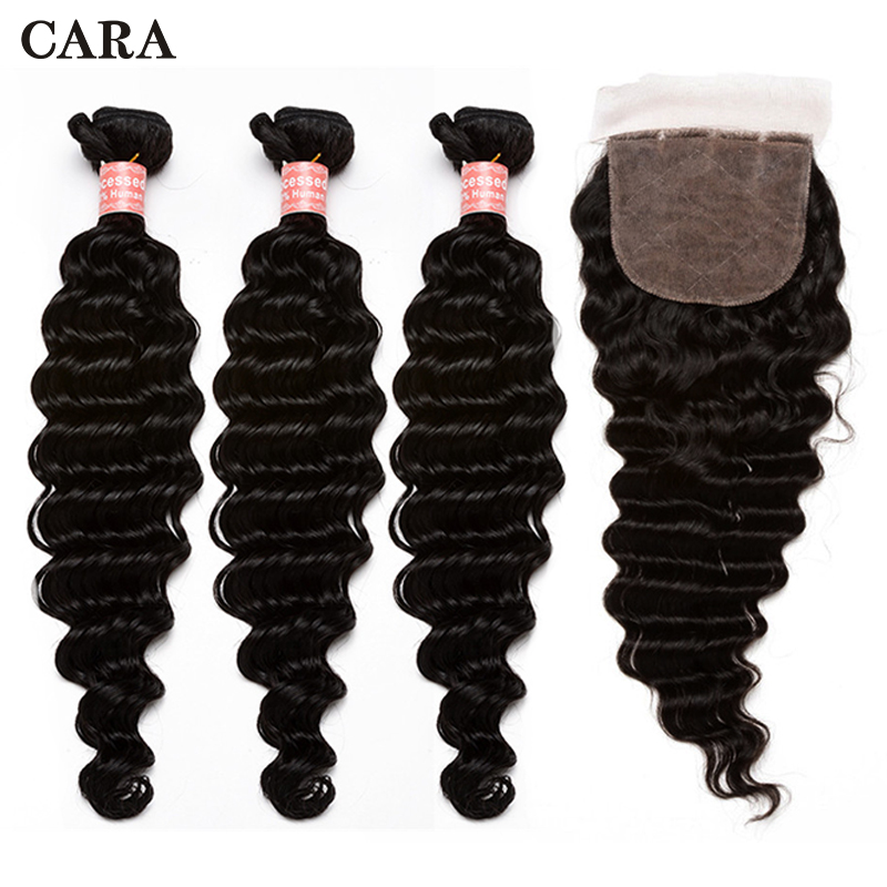 Deep Wave Bundles With Closure Brazilian Human Hair Free Part Silk Base Closure And 3 pcs Bundles CARA Virgin Hair Extension