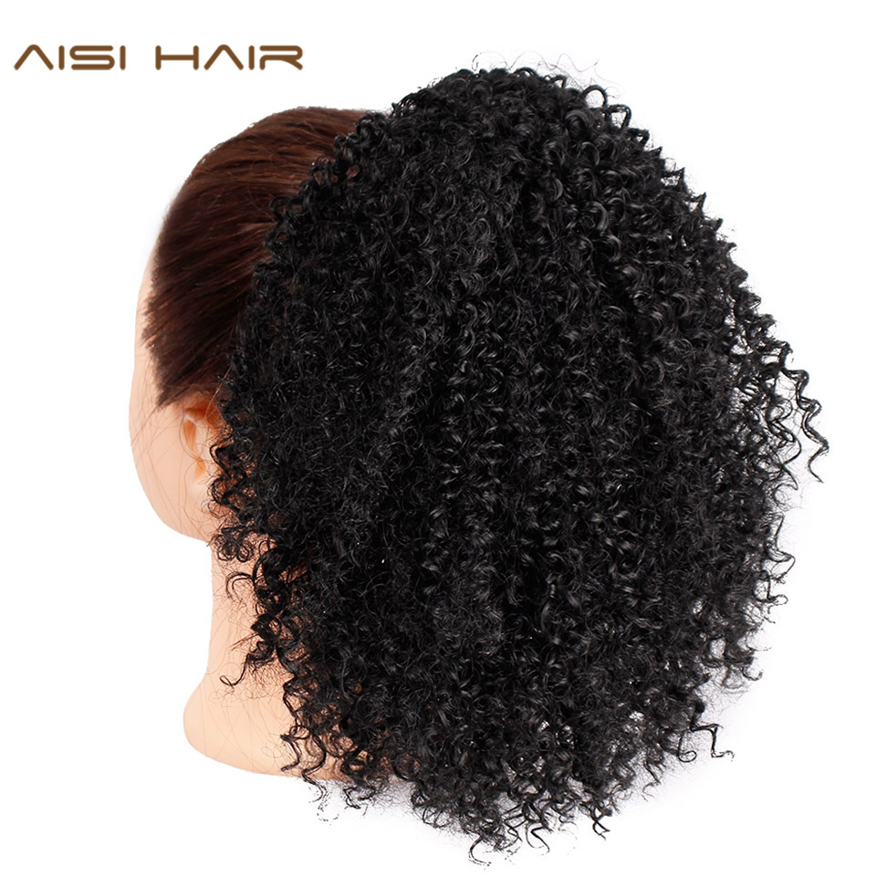 Drawstring Puff Afro Kinky Curly Ponytail African American Short Wrap Synthetic clip in Ponytail Hair Extensions AISI HAIR strap