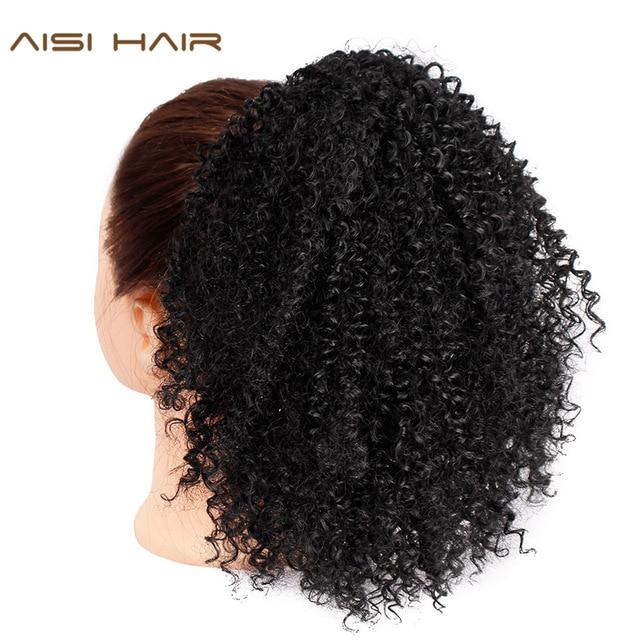 Cordón Puff Afro rizado cola de caballo africano americano corto envolver clip sintético en extensiones de cabello Cola de Caballo AISI cabello