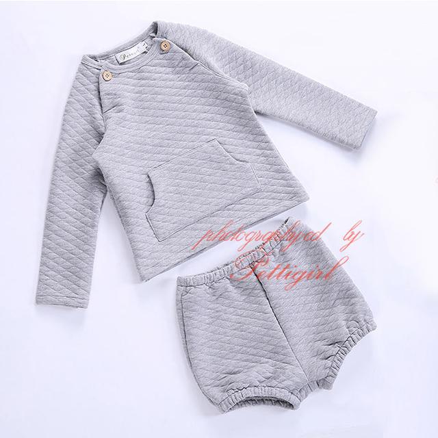 Pettigirl 6m-4y crianças calças roupa do bebê conjuntos de roupas cinza completa manga curta crianças atender crianças roupas g-dmcs911-1099