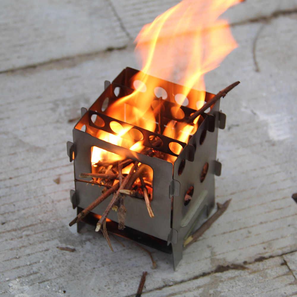 Lixada fogão a madeira de titânio leve dobrável fogão a lenha ao ar livre fogão de acampamento piquenique cozinhar queimadores forno backpacking