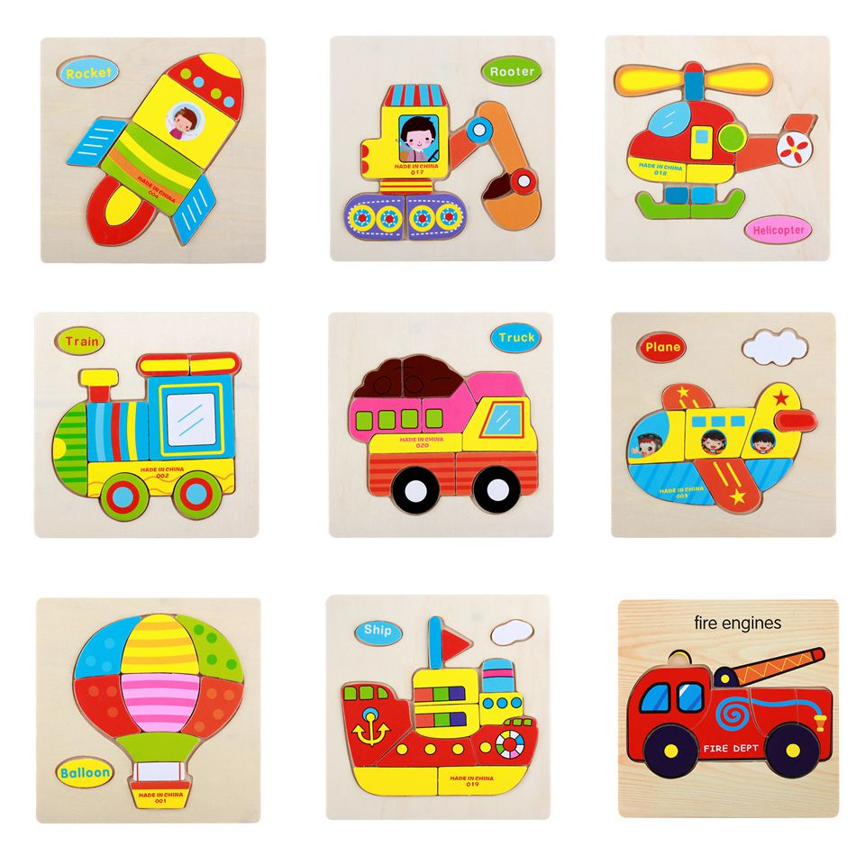 Toys for Baby Baby Wooden Cartoon Truck Blocks Toddler Baby Kids Child Educational Toy Puzzle