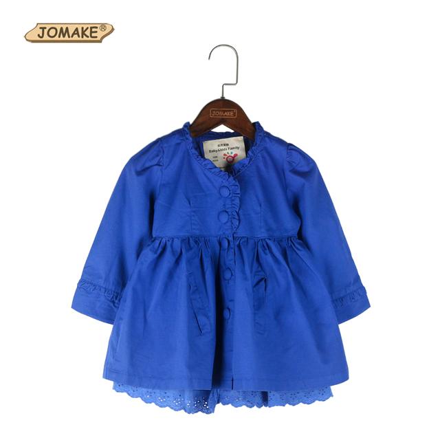 2016 Muchachas Del Otoño Trench Coat Moda Marca Ropa Infantil Baby Girl Cordón de La Princesa Niños Niñas Ropa de Abrigo Cazadora