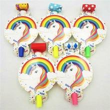 6pcs/set Unicorn Party Supplies Blowots Whistles Trumpet Horns Kids Birthday Decoration Baby Shower Favors