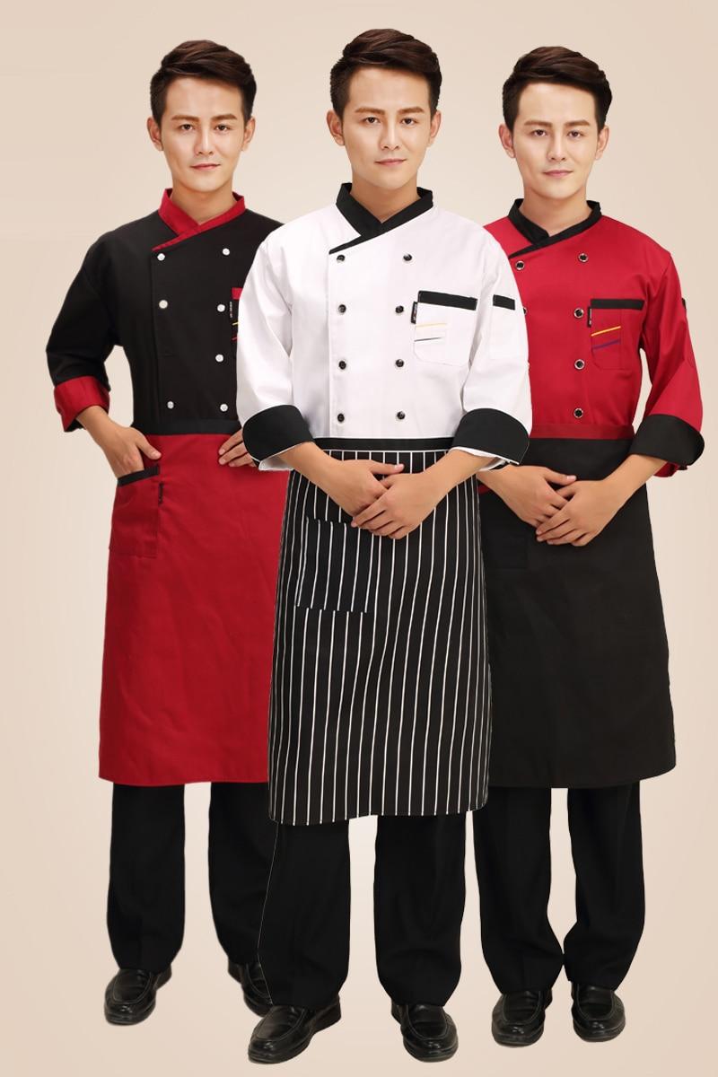 Hotel Baru Seragam Chef Ganda Breasted Jas Lengan Panjang Jaket Tusuk Gigi Eceran Restoran Pelayan Dapur Pakaian Kerja
