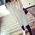Camisa básica chiffon feminino faixa vertical solto plus size feminina camisa moda roupas mulheres