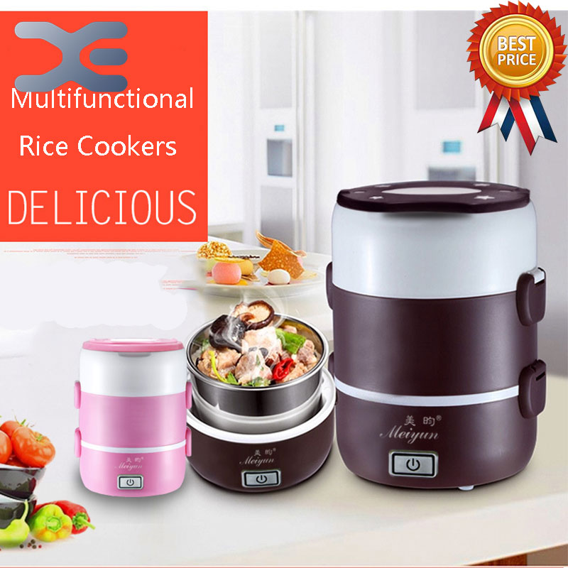 1.6L Mini Rice Cooker 3 Layer Electric Lunch Box Electronic Heating Lunch Box Insulation 220v 600w 1 2l portable multi cooker mini electric hot pot stainless steel inner electric cooker with steam lattice for students