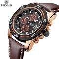 Watches Men MEGIR Brand Men Sports Watch Chronograph 6 Quartz Clock Male Leather Strap Military Wrist watch Relogio Masculino
