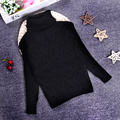 2-10 T Nuevo Oso de Impresión Grueso Cuello Alto de La Moda Niñas Suéter Niños Suéter de Punto Camisas Sólido Para la Primavera de Invierno KC-1547