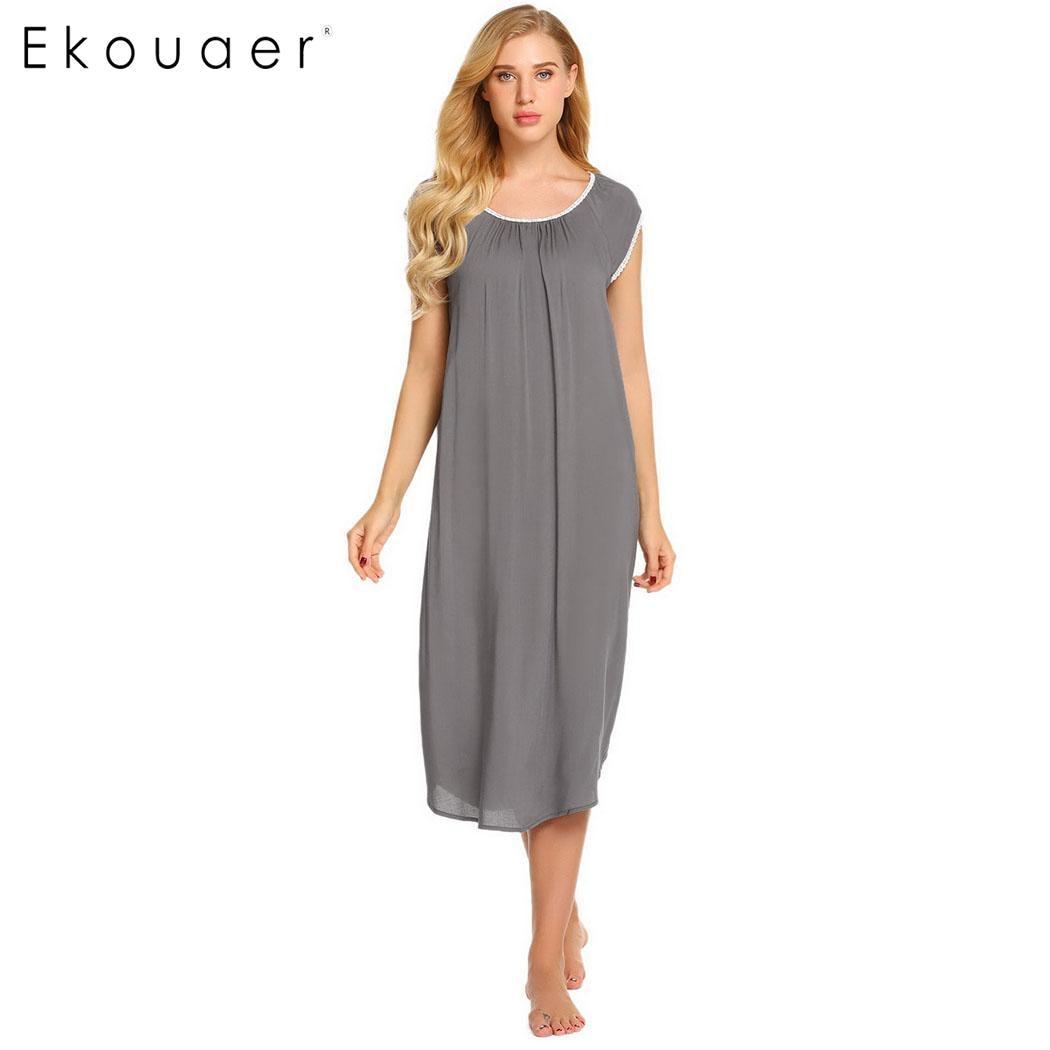 Ekouaer Casual Nightdress Long Sleepwear Dress Women Solid Short ...