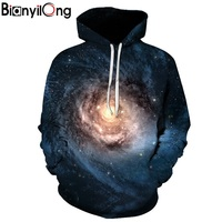 BIANYILONG 3D Sweatshirts Hooded Men Women Hoodies With Hat Galaxy Space Star Autumn Winter Loose Thin