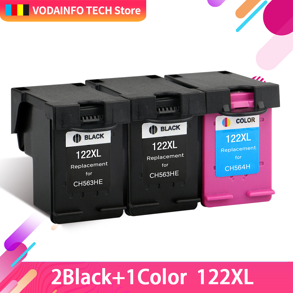 QSYRAINBOW 3pcs replacement For HP122 <font><b>HP122XL</b></font> Ink Cartridge CH563WN 564 for HP Deskjet 1000 1050 1050A 1510 2000 2050 2050A image