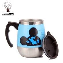 BayMax CoffeeBoy Marca 500 ml de Dibujos Animados Mickey Lindo empuñadura vaso taza de café taza de té con tapa