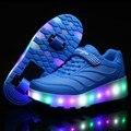 28 ~ 40 led niños niñas niños roller shoes krasovki luminosos zapatillas de deporte con 2 ruedas skate zapato