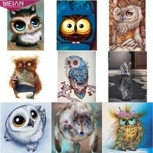 """Meian, полный, 5D DIY алмазная живопись животное, алмазная вышивка, """"Сова/кошка/волк"""", вышивка крестом, 3D, мозаика диамонт аксессуары"""
