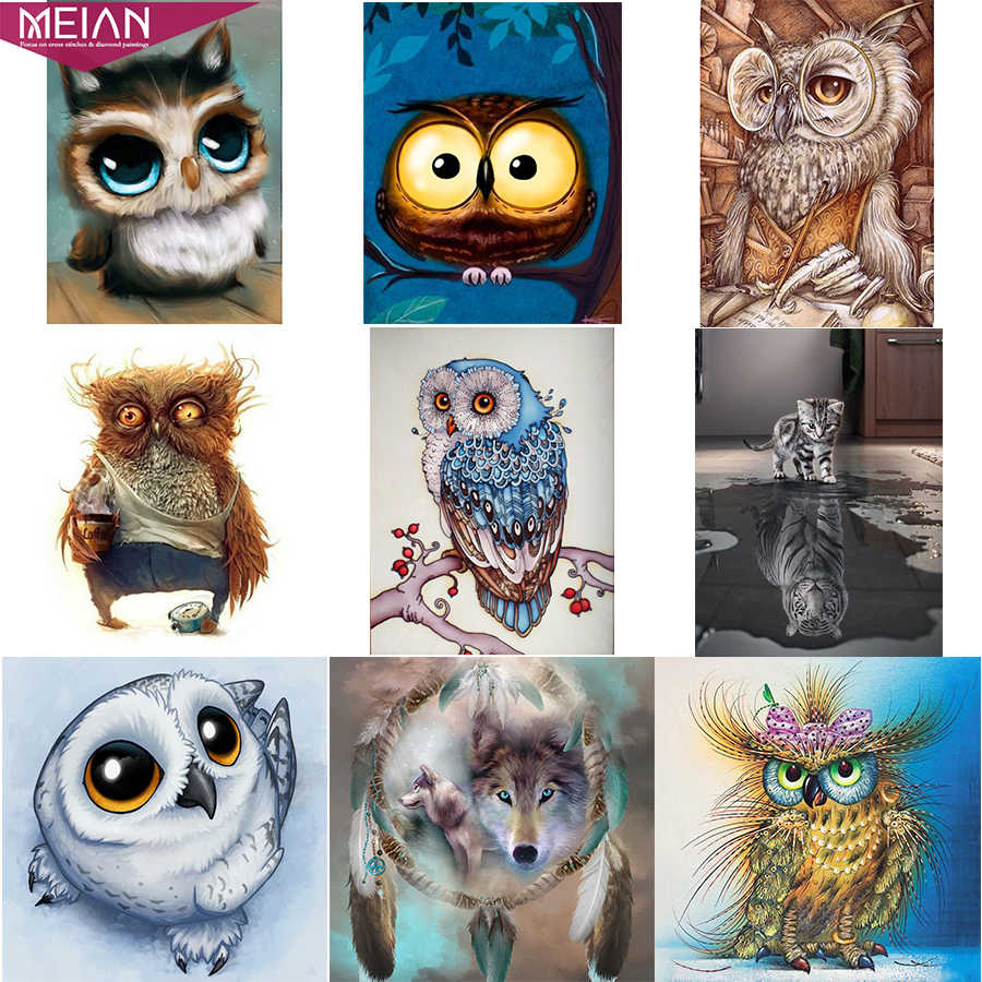 "Meian,Full,5D DIY Diamond Painting Animal,Diamond Embroidery,""Owl/Cat/Wolf"",Cross Stitch,3D,Mosaic Diamont accessories sale"