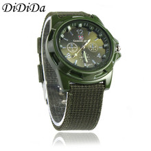 1PC Men Watch Gemius Army Racing Force Military Officer Fabric Band Quartz Wristwatches Green Free Shipping relogio masculino J9