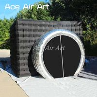 Whole sale camera shaped inflatable photo booth enclosure with silver lens shaped zipper doors on sale