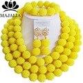 Модный желтый Нигерийские свадебные Африканские бусы комплект ювелирных изделий Пластиковые ожерелье браслет серьги известный бренд Majalia GG-422