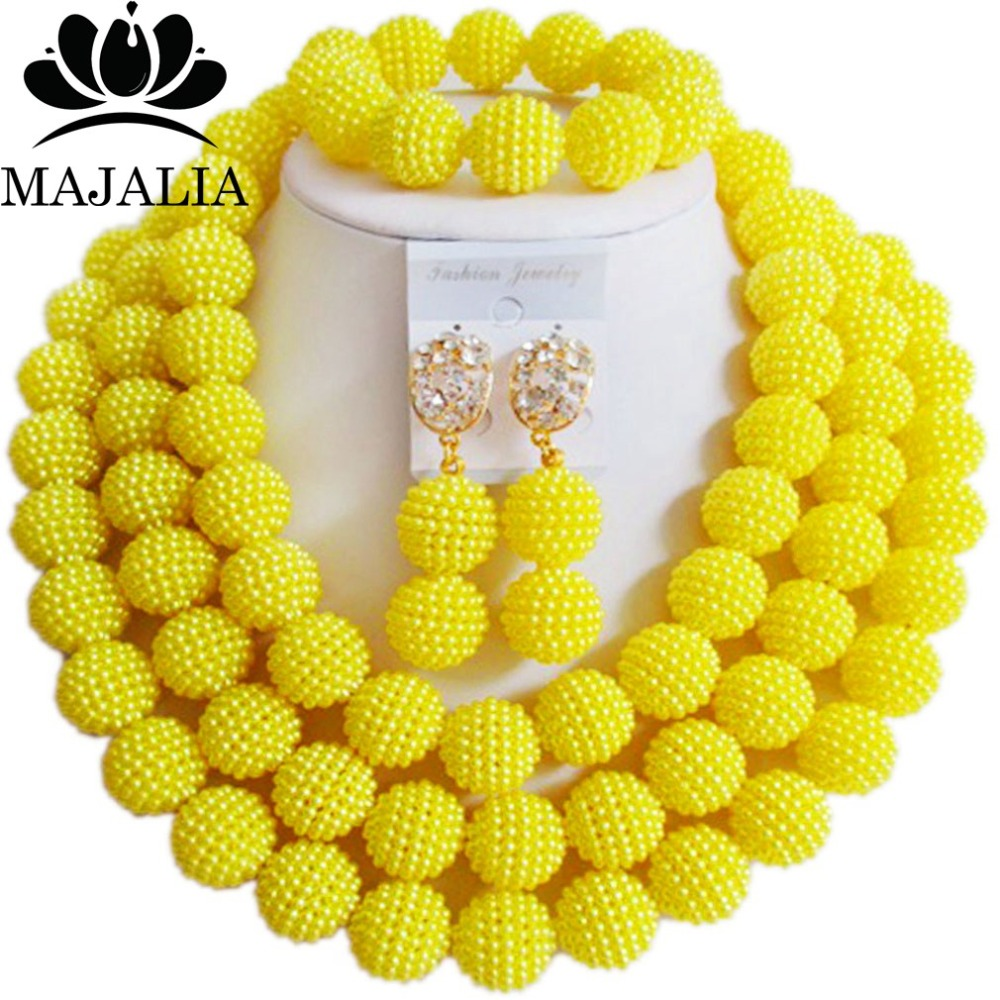 Divatos sárga nigériai esküvői afrikai gyöngyök ékszerkészlet Műanyag nyaklánc karkötő fülbevalók A jól ismert márka Majalia GG-422