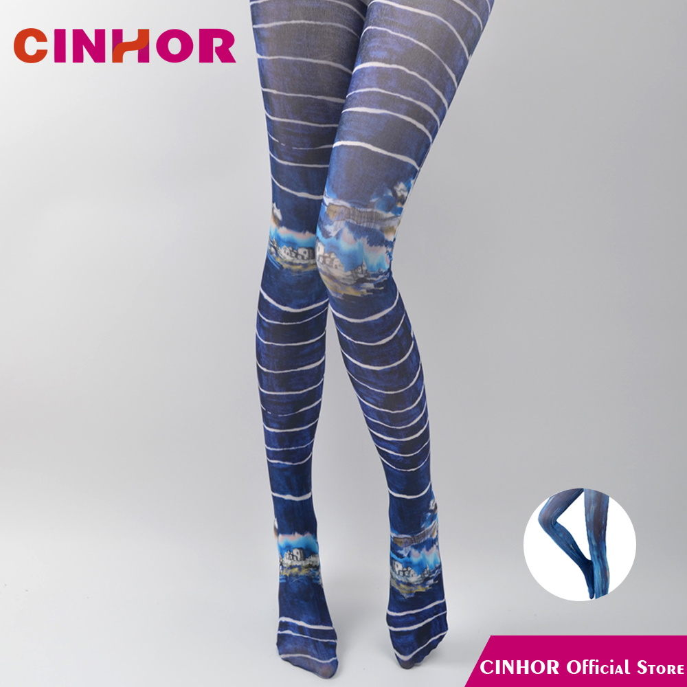 Cinhor Velvet Women High Elastic Lady Sexy Four Seasons Pantyhose Thin Solid Blue Bay -4029