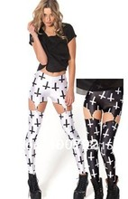 Free shipping high waisted white and black cross garter buckle elastic legging pants