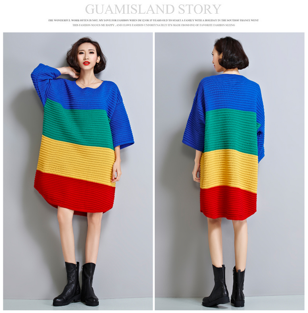 20a4f5f8b53 2016 Loose European Color Matching Stripes Knit Sweater Dress Plus Size  Rainbow Batwing Sleeve Sweater Dress For Big Size Women