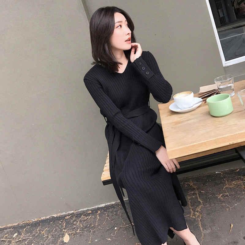 Mùa thu Mùa Đông Váy Phụ Nữ Mỏng Ấm Dệt Kim Dài Áo Len Váy Thanh Lịch Đàn Hồi Vestidos Dài Tay Áo Femme Sexy Dresses Q819