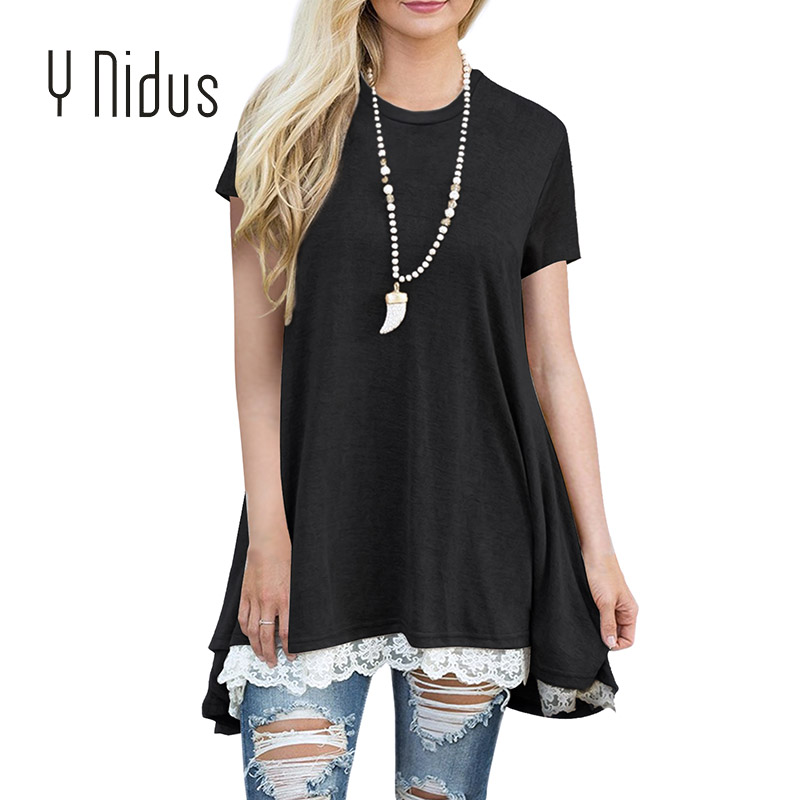 Y Nidus Womens Shirts Summer Swing Tunic Blouses 2018 Solid Lace Scoop Neck A-Line Tops Knitted L Shirt Blusas Feminina