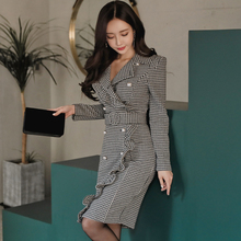 Women 2018 Office Business Dress Clothes Ruffles Pearls Double-breasted Plaid Package Hip With Belt Knee-Length Blazer Dress