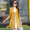 New Korean large size women long section of elegant simplicity Slim coat jacket was thin double-breasted coat