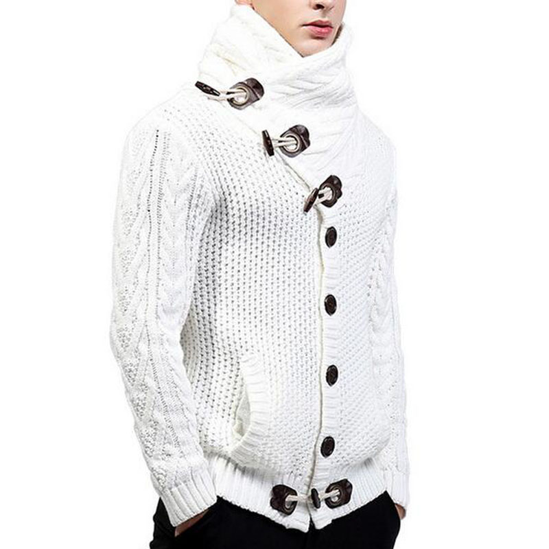 Men's Cardigan Sweaters Turtleneck Sweater Men 2018 Autumn Winter Casual Slim Long Sleeve Mens Knitted Sweaters Cardigan Hombre