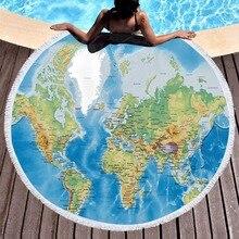 Yoga Blanket World Map Print 150cm Round Microfiber Beach Cover Ups Tassel Towel Adult Swim Shawl Thick Picnic Mat Wall Tapestry dandelion print tapestry