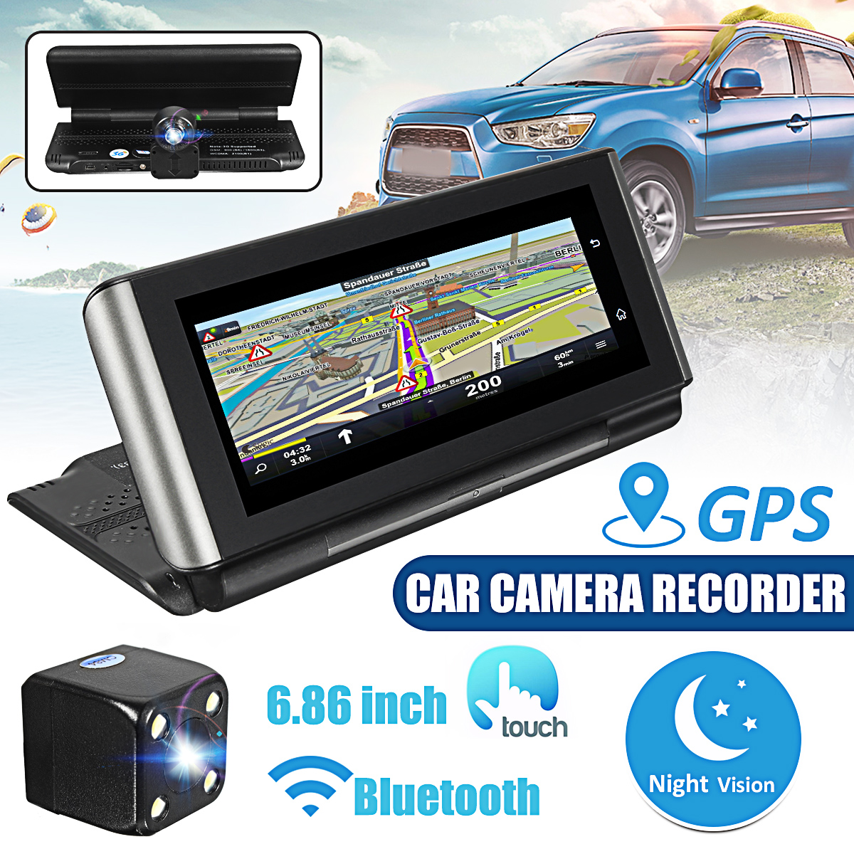 1080p 7IncTouch Screen Wifi Car DVR Camera Camcorder Dual Cams Dash Recorder Rearview G-sensor+ 3G GPS Navigation + Car Charger