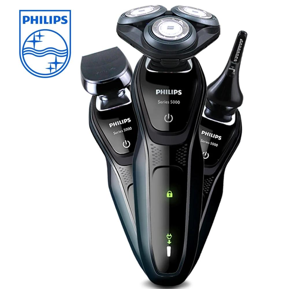PHILIPS çok fonksiyonlu elektrikli tıraş makinesi serisi 5000 LED şarj  ekran tıraş makinesi erkekler için S5082 burun saç düzeltici ile Electric  Shavers