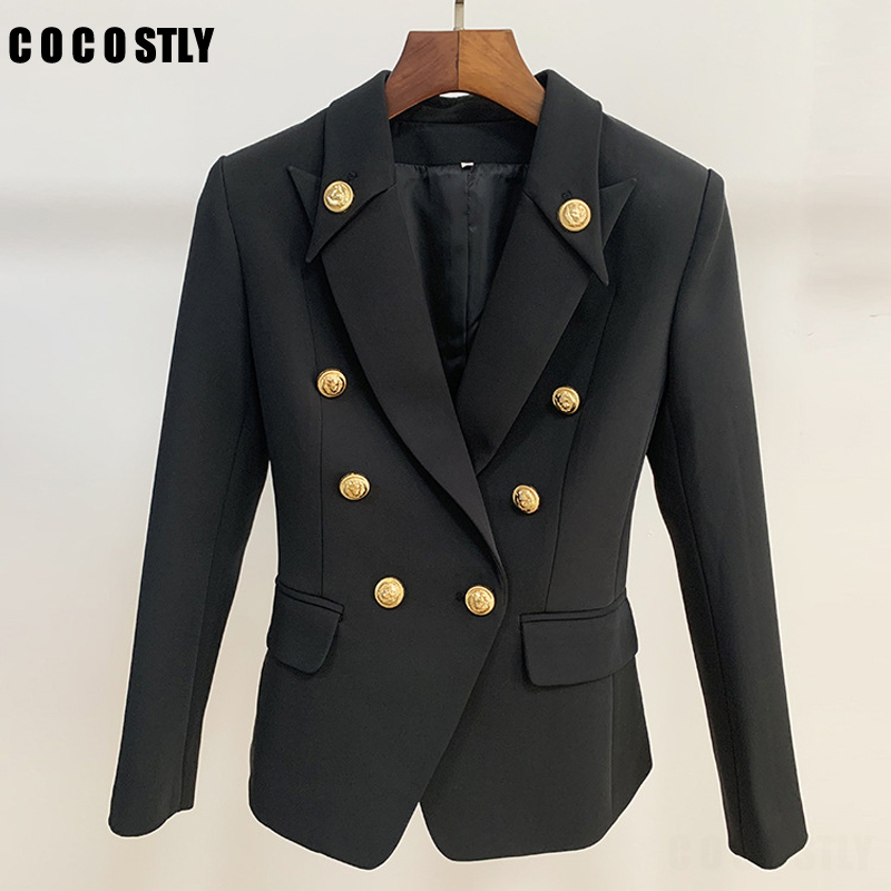 Designer Blazer Jacket Women's Gold Buttons Double Breasted Office Lady Blazers Outerwear Female Suit Tops Mujer Plus Size