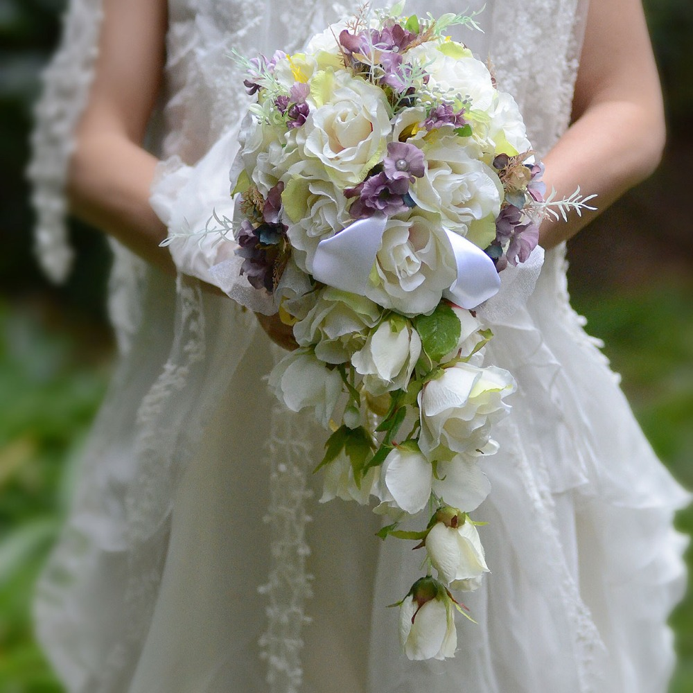 2017 bouquet de mariage blanc rose teardrop cascade fleurs bouquet