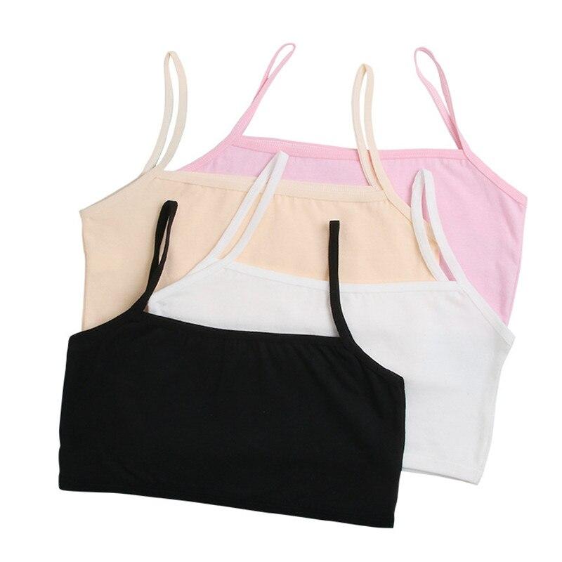 Kids Underwear Model 100% Cotton Girls Tank Top Candy Color Undershirt Girls Singlet Baby Camisole Bra Tops Sport Undies