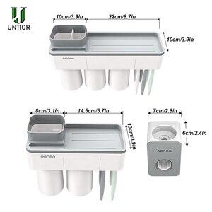 Image 5 - UNITOR plastik duvara monte diş fırçası tutucu otomatik diş macunu Dispenser tuvalet depolama raf banyo aksesuarları seti