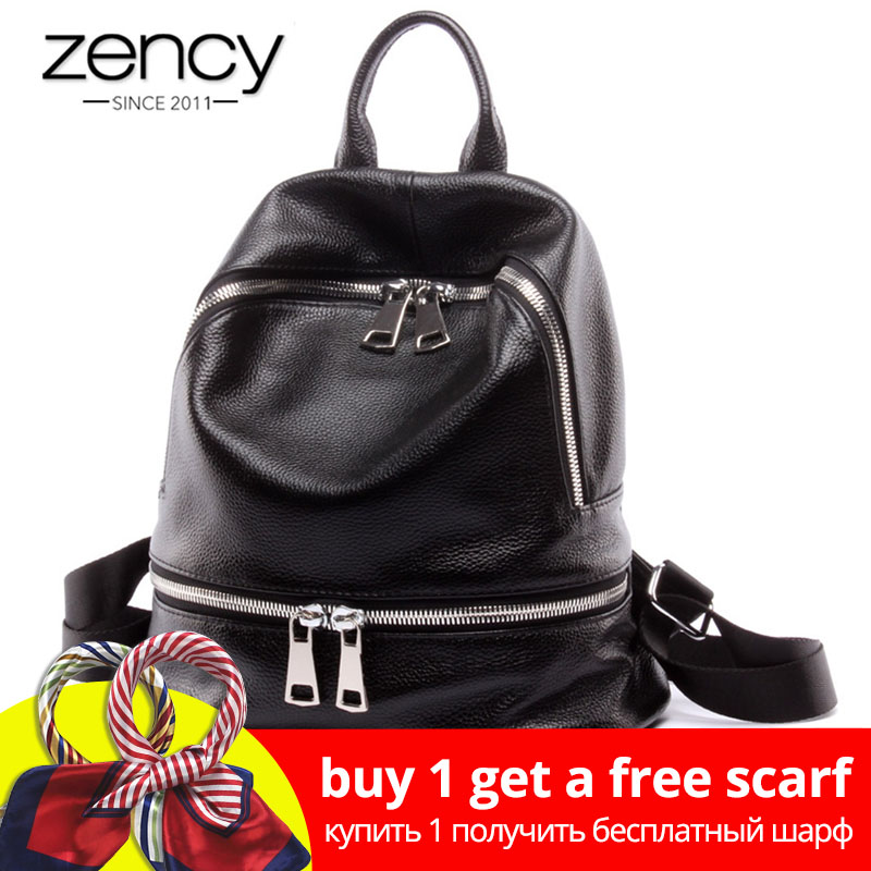 Zaino per notebook Zency Fashion 100% in vera pelle da donna Zaino per notebook per adolescenti Borsa da viaggio femminile Lady Zaino nero